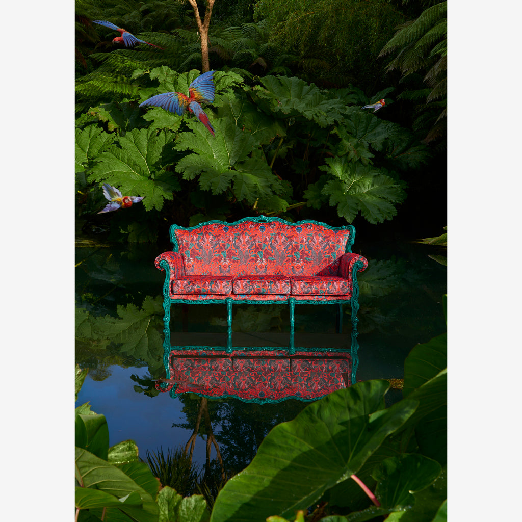 Opulent Amazon red fabric by Emma J Shipley for Clarke and Clarke will bring contemporary maximalism to your home