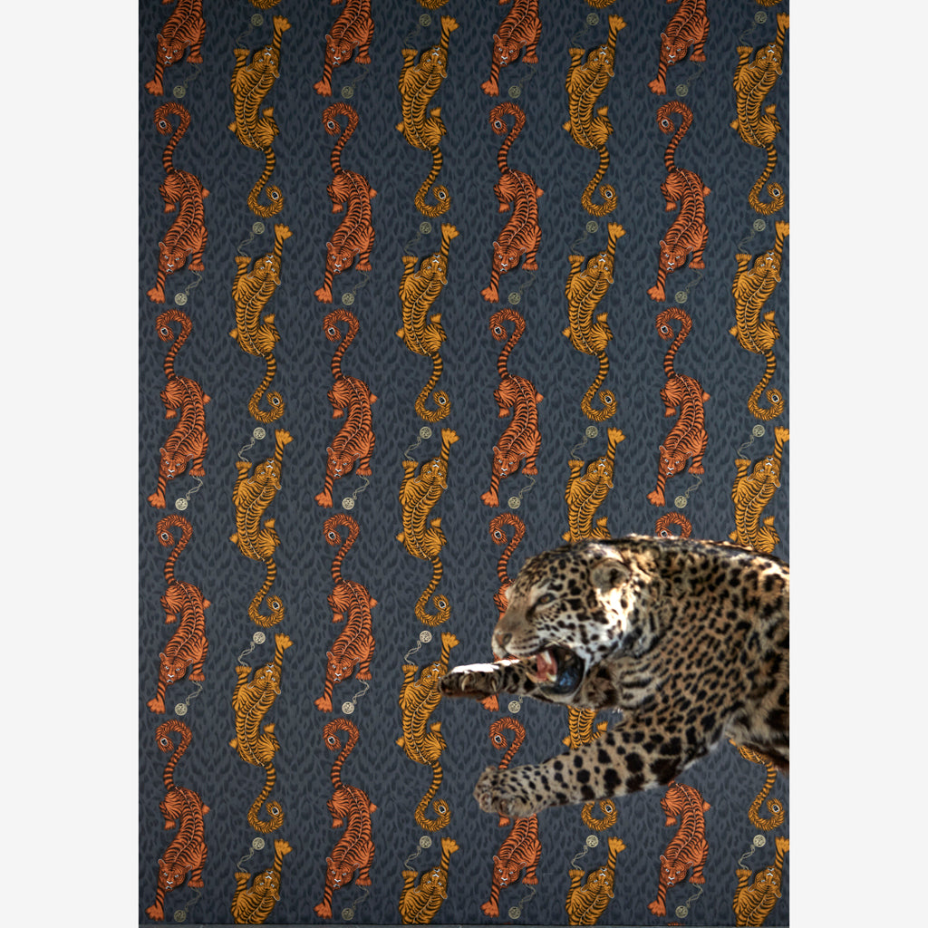 Striking campaign imagery of the Tigris wallpaper design by Emma J Shipley x Clarke & Clarke