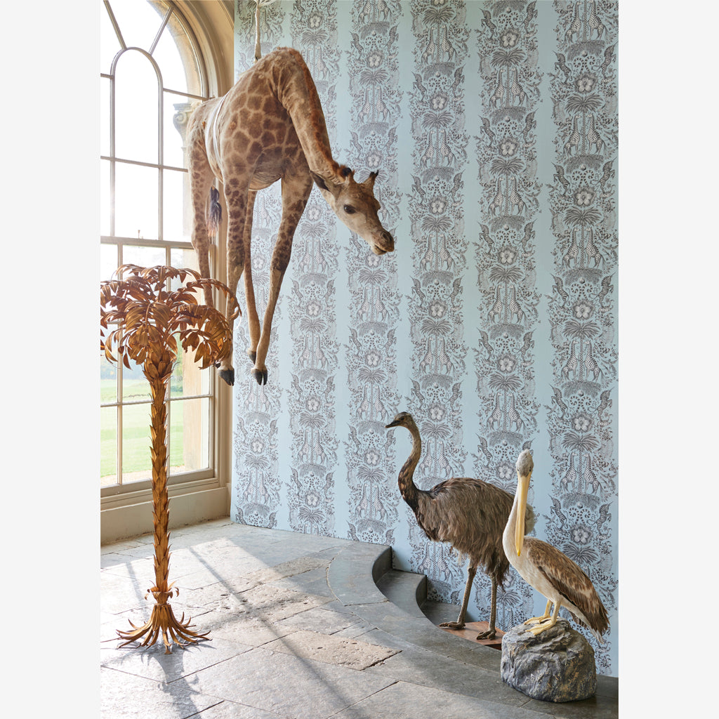 The fantastical Kruger Wallpaper in our campaign imagery, designed by Emma J Shipley x Clarke & Clarke