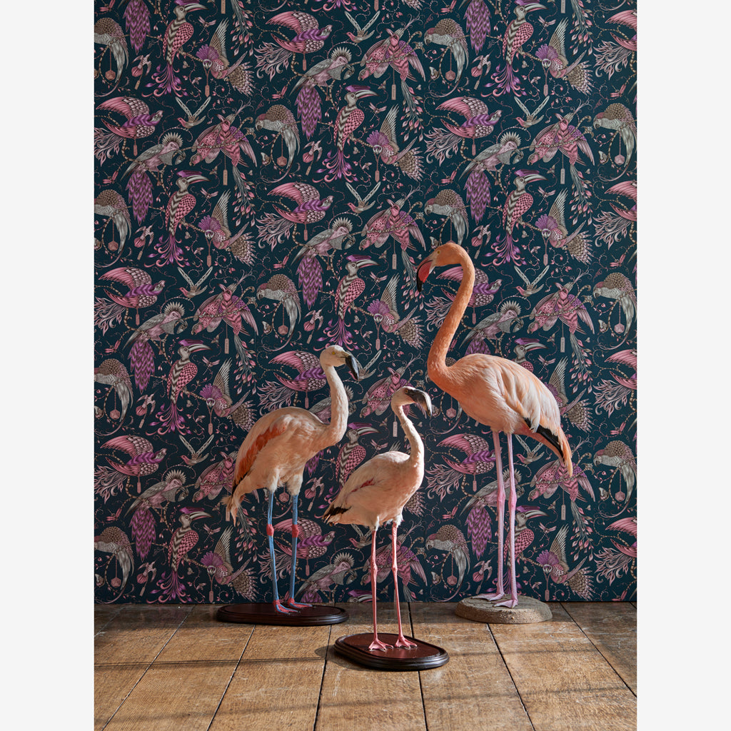 Campaign imagery of The magical Audubon wallpaper designed by Emma J Shipley in collaboration with Clarke & Clarke