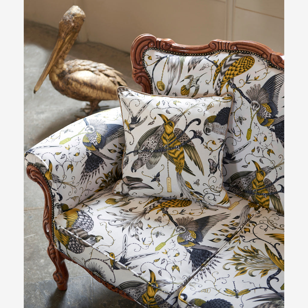 Magical campaign imagery of the Audubon cotton satin fabric by Emma J Shipley x Clarke & Clarke