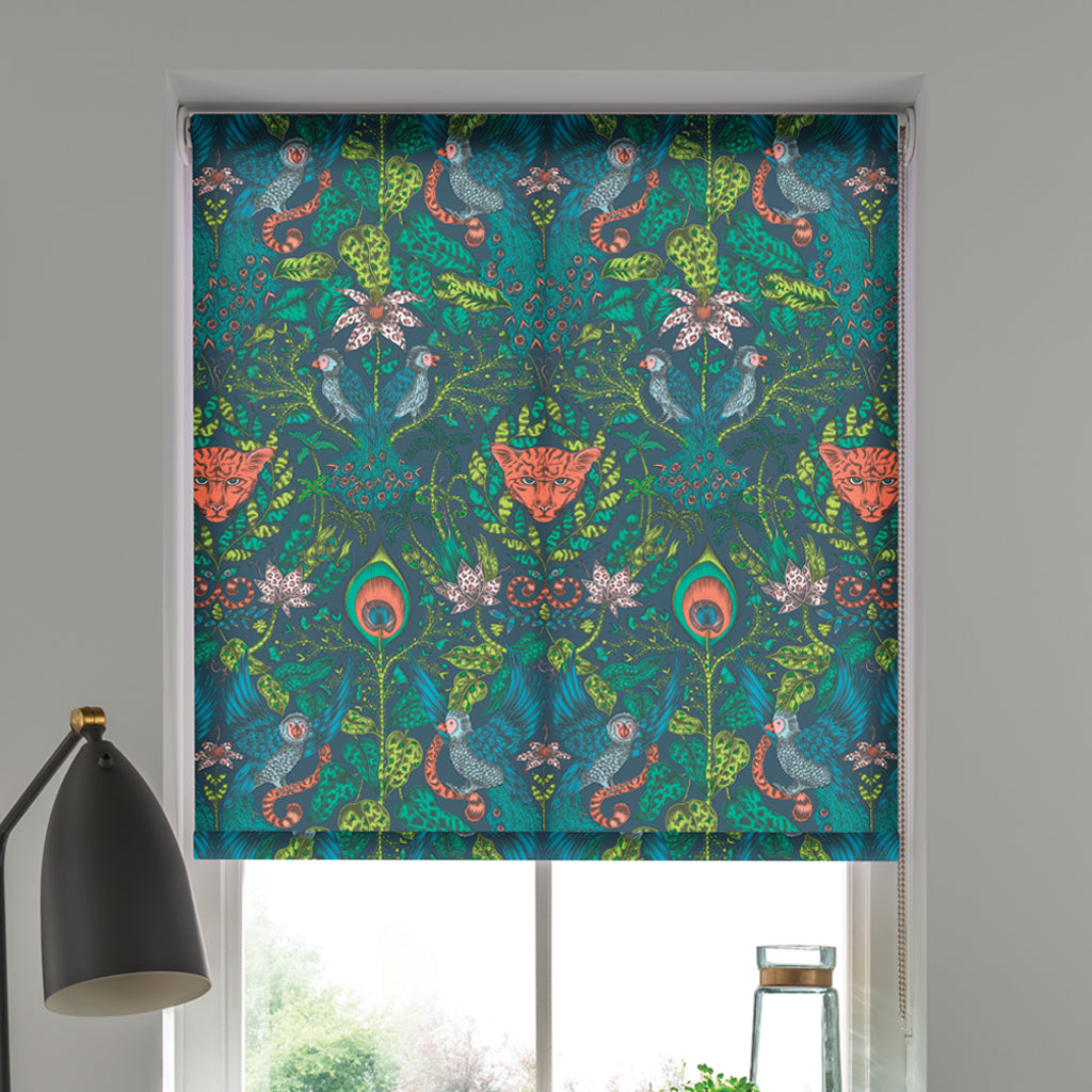 The Amazon Roller Blind designed by Emma J Shipley, part of the magical Animalia collaboration with interior experts Clarke & Clarke