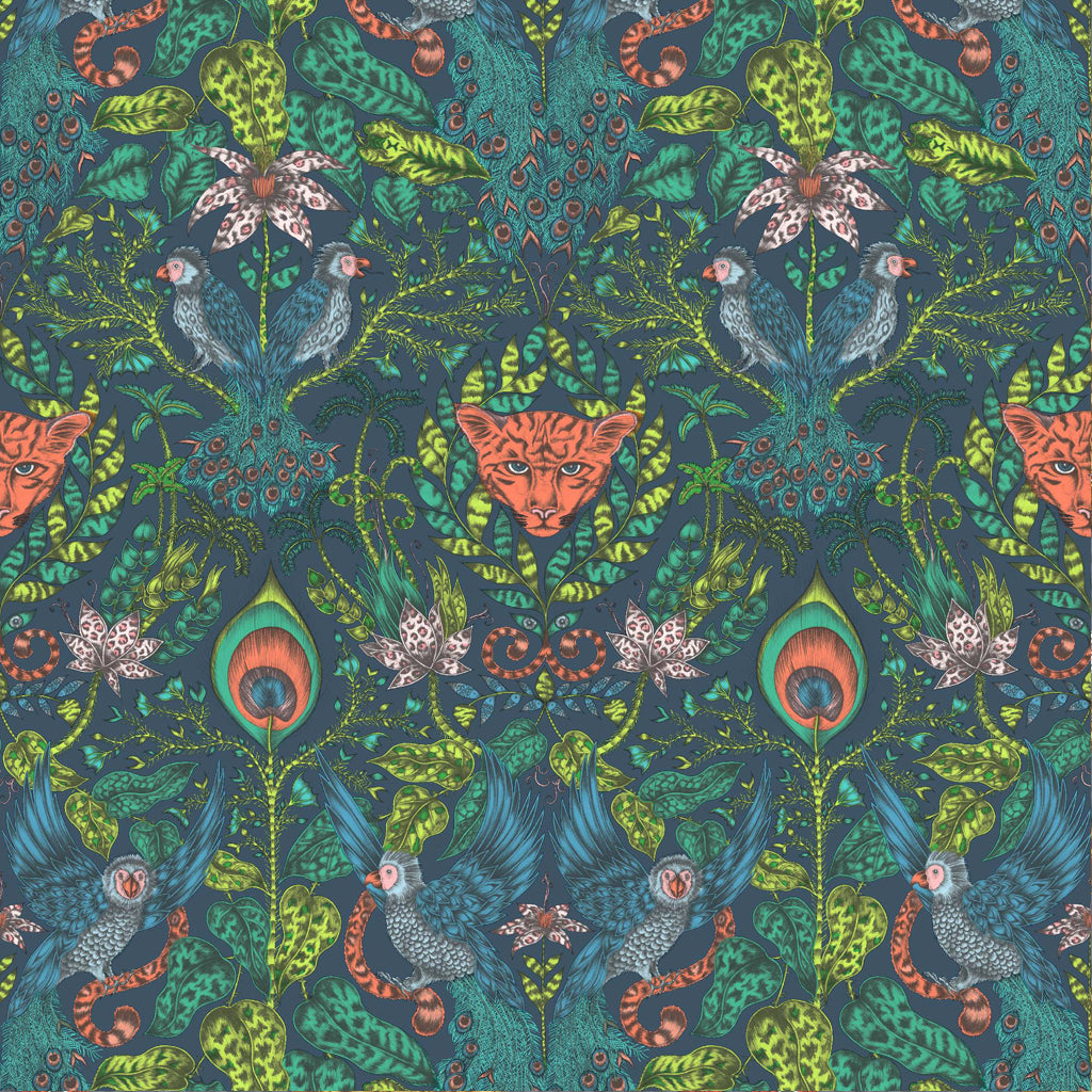Close up of the Emma J Shipley Amazon fabric, featuring jaguars hidden amongst the foliage and playful parrots in the trees. The deep and vibrant Navy colourway are utterly unique and will add a fantastical finishing touch to any living space in your home.