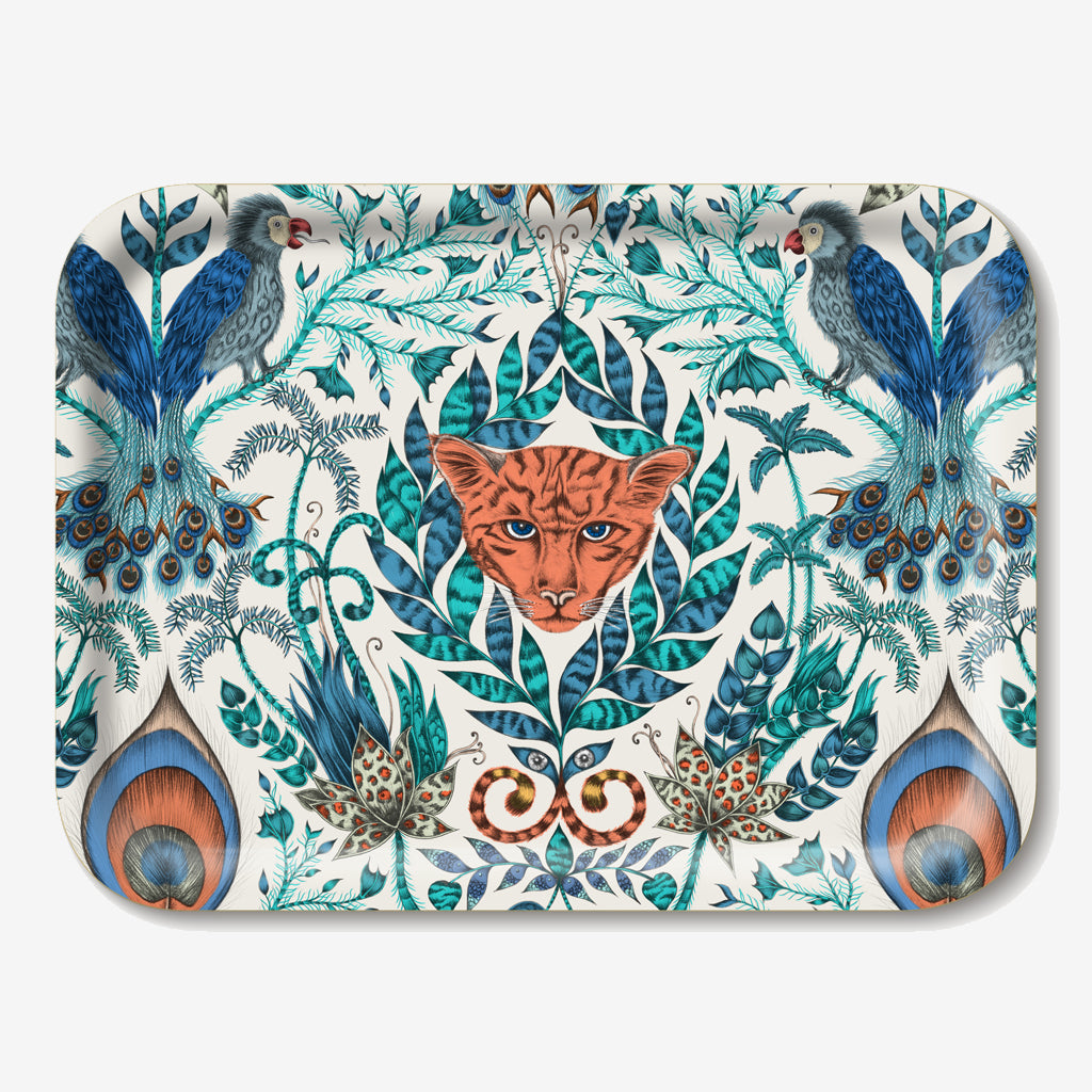 Small Amazon tray designed by Emma J Shipley, adorned with stunning illustrations of tropical creatures and plants