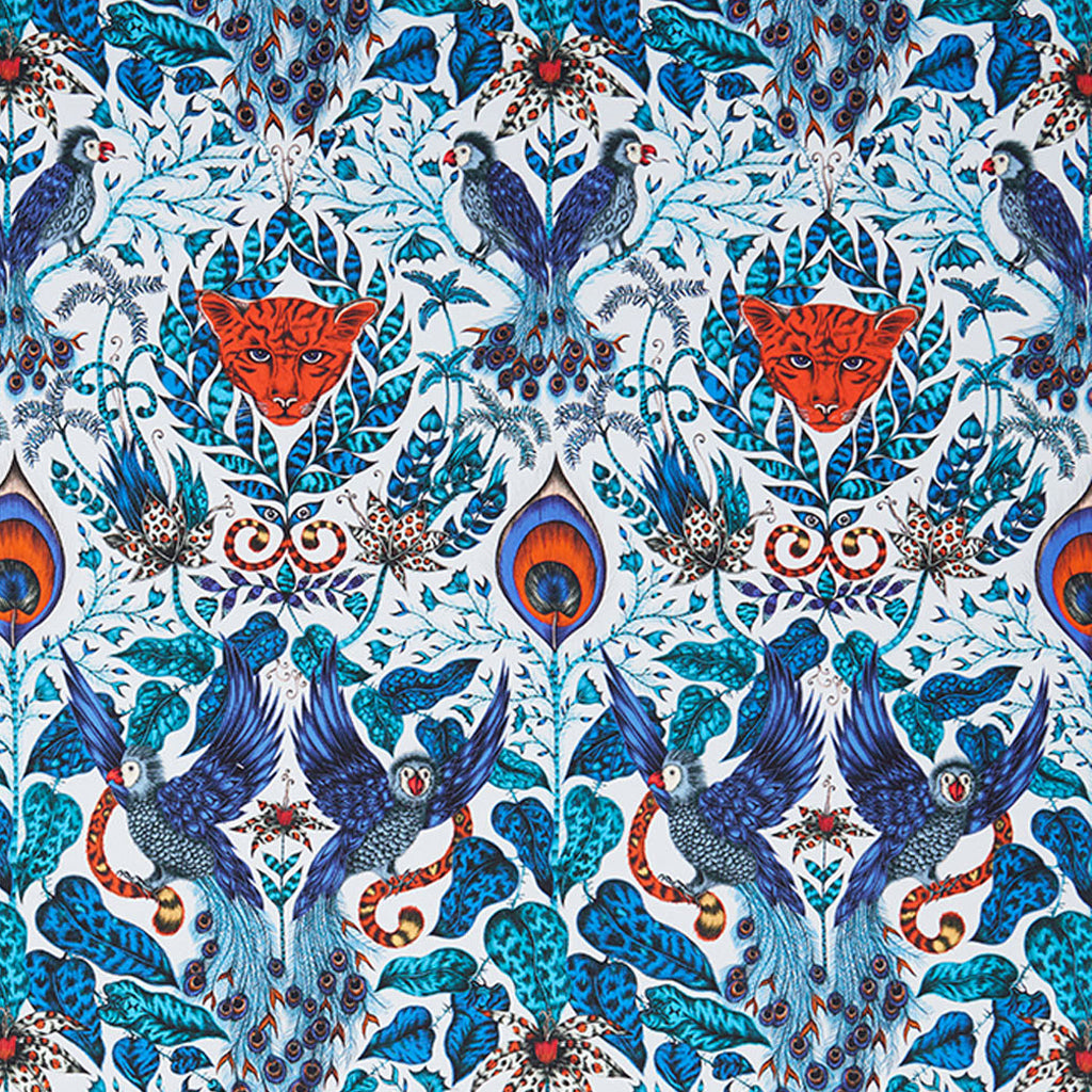 The luxurious Amazon blue fabric design made in collaboration with Clarke & Clarke and Emma J Shipley from the Animalia range will create a striking feature wall or create an maximalist finish