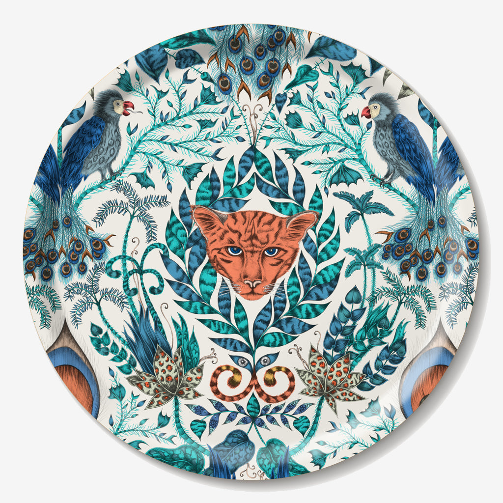 The fantastical circular Amazon tray created by luxury designer and illustrator Emma J Shipley features an array of tropical imagery