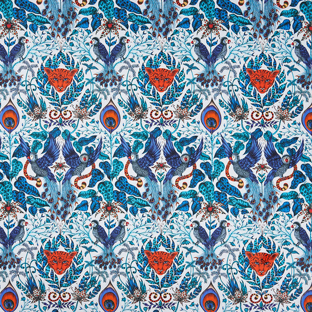 The luxurious Amazon blue fabric design made in collaboration with Clarke & Clarke and Emma J Shipley from the Animalia range