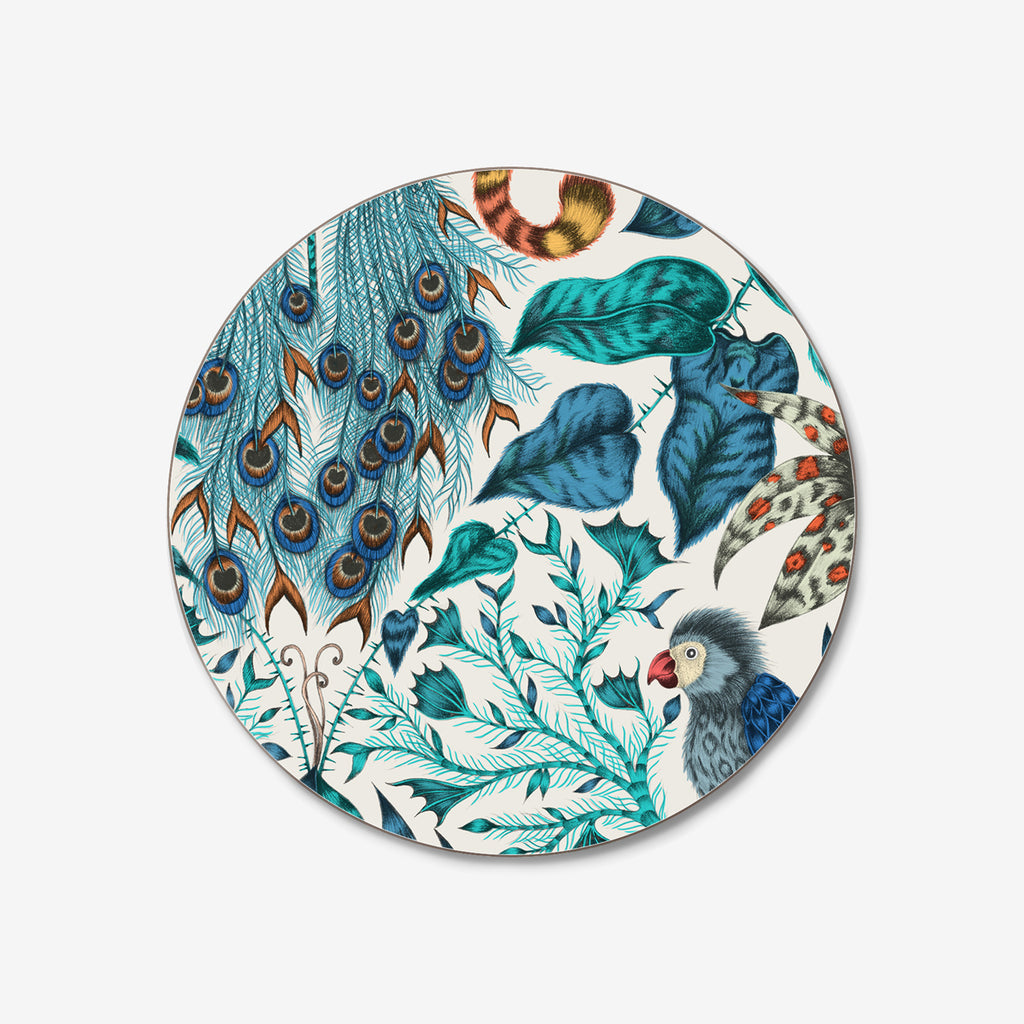 The exotic Amazon Coaster designed by Emma J Shipley in collaboration with Jamida. The blue and teal animalistic coaster is the perfect tropical table setting piece
