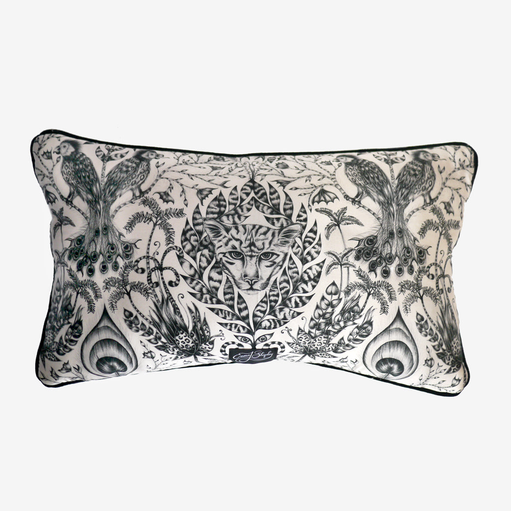 The new double sided Amazon bolster cushion is piped with black velvet and displays the stunning Amazon scene featured in Emma J Shipley's signature illustration