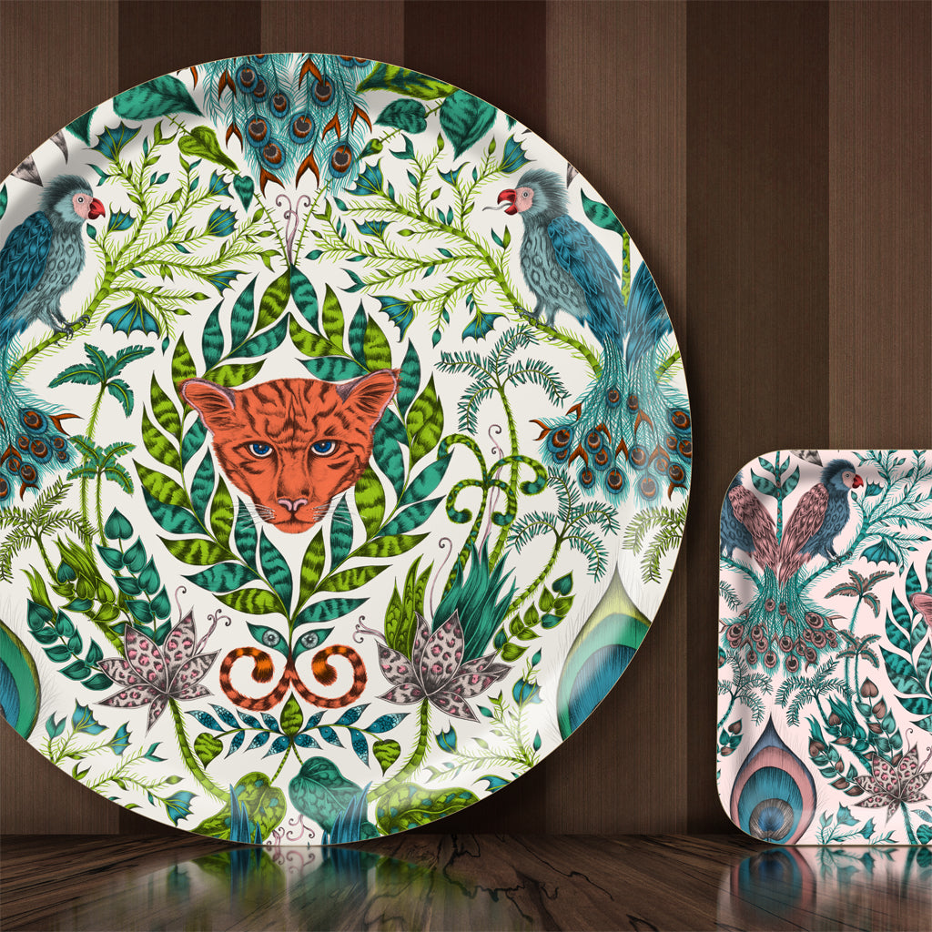 Emma J Shipley designed the Amazon tray in collaboration with Jamida, featuring jungle creatures and tropical plants