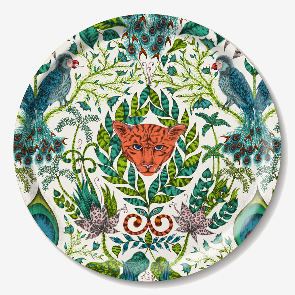 The fantastical circular Amazon tray created by luxury designer and illustrator Emma J Shipley