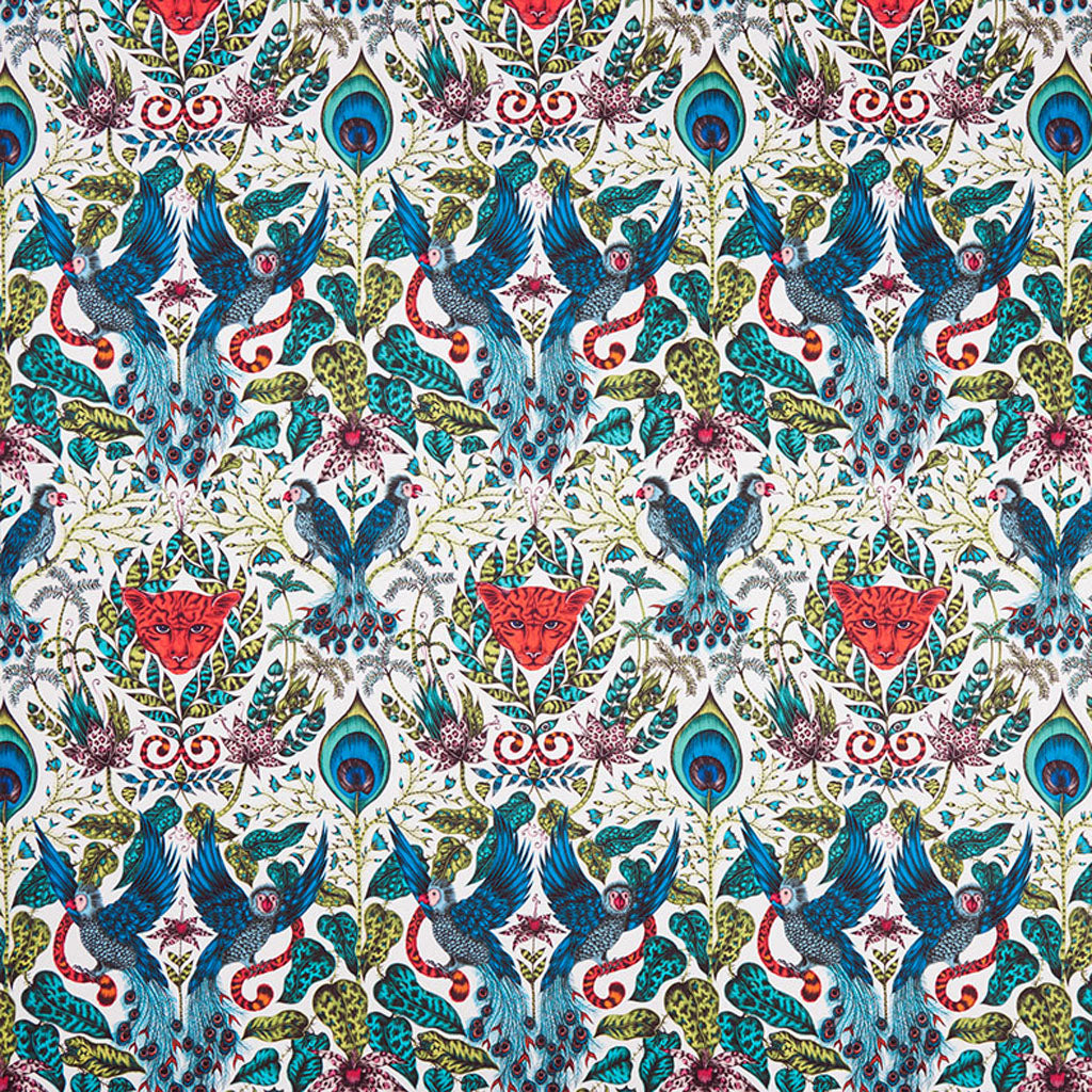 The Amazon fabric designed by Emma J Shipley x Clarke & Clarke in the lime colour way