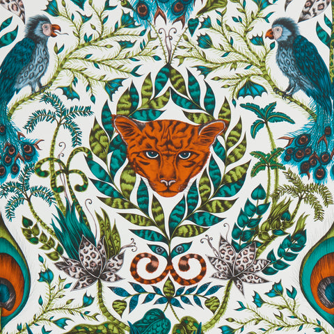 The Amazon wallpaper designed by Emma J Shipley x Clarke & Clarke allows you to surround yourself with the magical essence of the jungle
