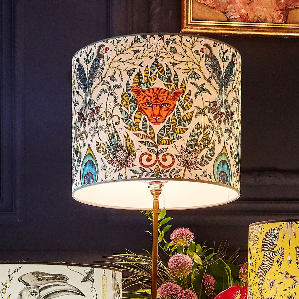 Emma J Shipley Amazon lampshade featuring a cat's face with magical parrots