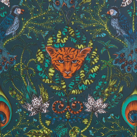 Mysterious and dark with highlights of vivid, tropical tones; the fantastical Amazon wallpaper designed by Emma J Shipley x Clarke & Clarke