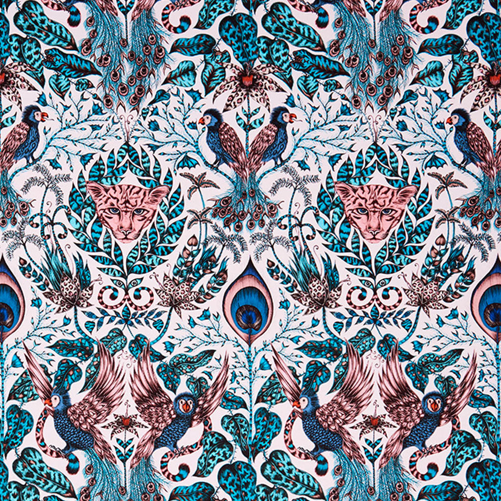 The Amazon fabric designed by Emma J Shipley x Clarke & Clarke in the pink colour way with pops of teal, royal blue and orange