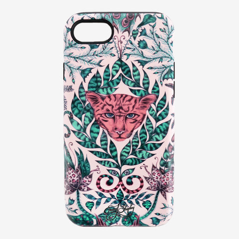The Amazon Phone Case features a curious jaguar amidst a jungle scene, hand drawn by designed Emma J Shipley