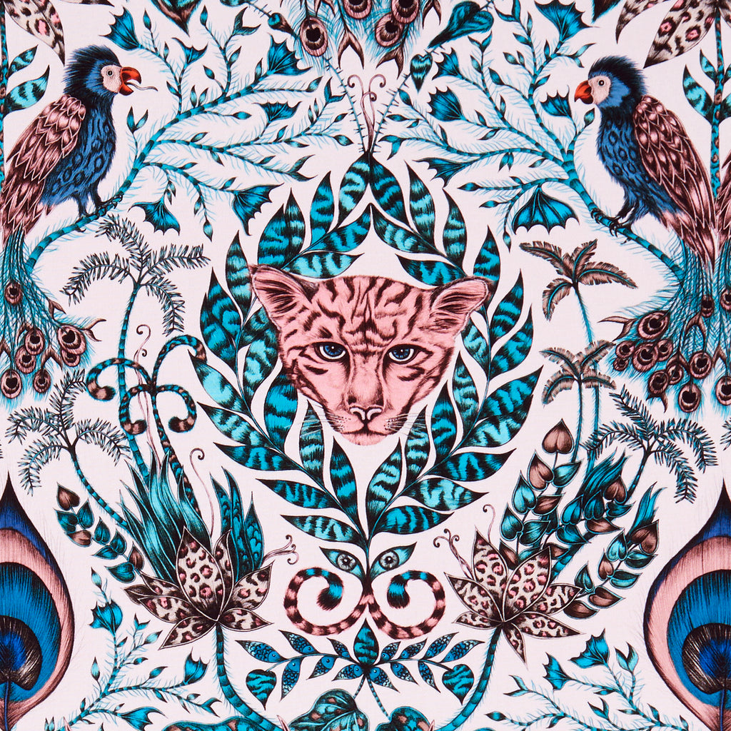 The Amazon fabric designed by Emma J Shipley x Clarke & Clarke in the pink colour way is luxurious with strong blues and rich tones running through