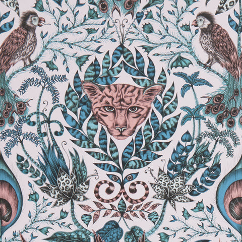 Dreamily delicate hues are contrasted by strong, cool blues. The fantastically luxurious Amazon wallpaper designed by Emma J Shipley x Clarke & Clarke