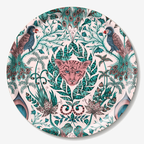 The round Amazon tray features a stunning array of hand-drawn creatures inspired by the Amazon rainforest, designed by Emma J Shipley