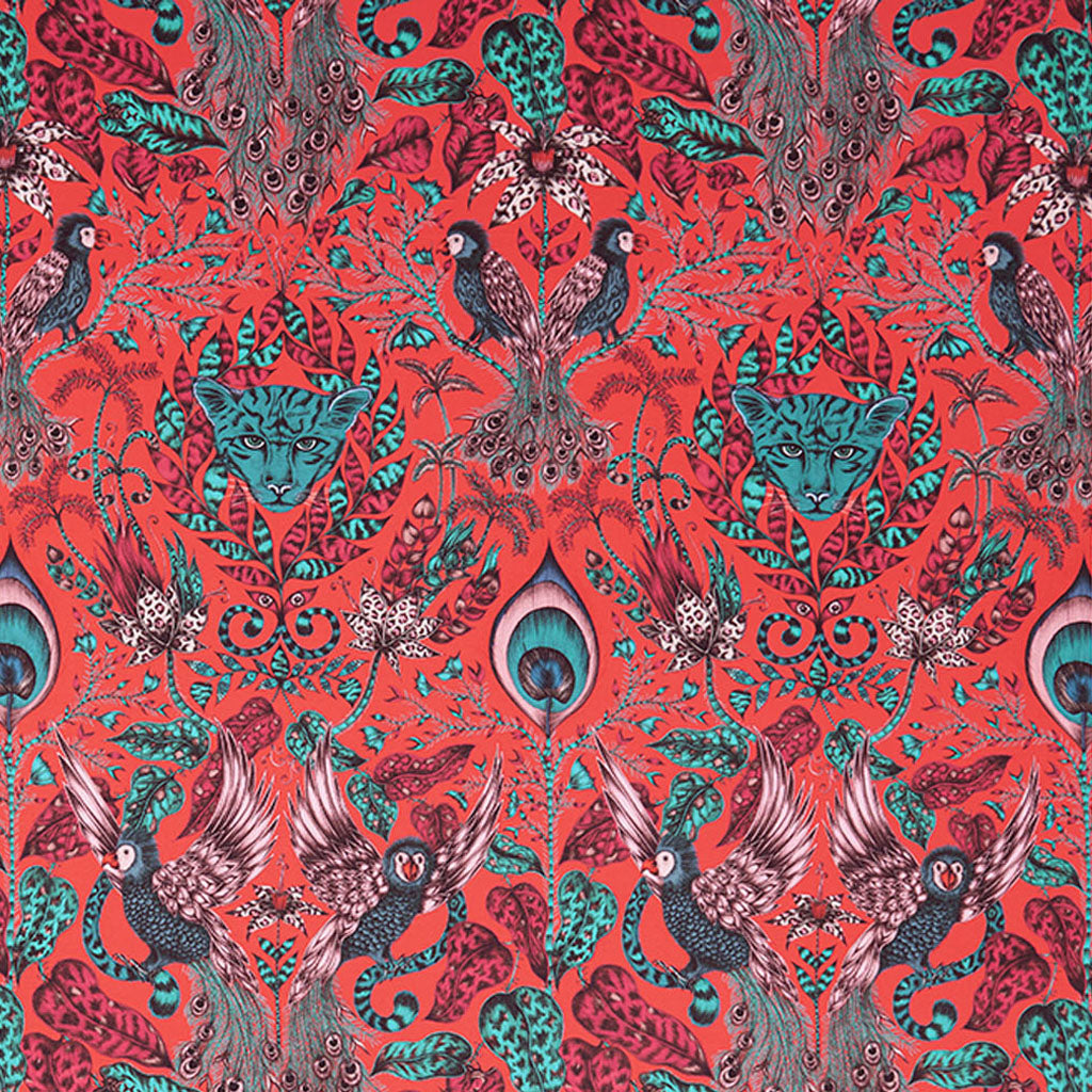 The Amazon fabric designed by Emma J Shipley x Clarke & Clarke in the red colour way