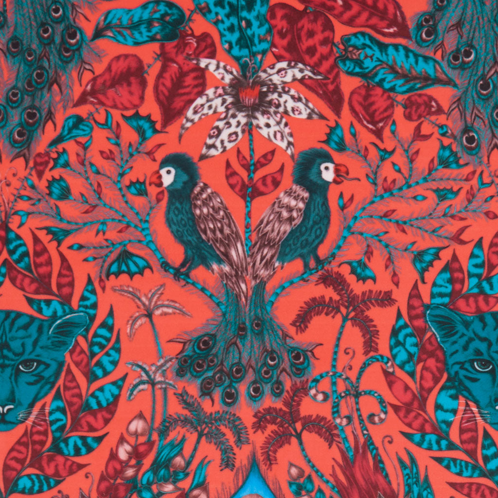 The luxurious Amazon red velvet fabric design made in collaboration with Clarke & Clarke and Emma J Shipley from the Animalia range is maximalist and decadent
