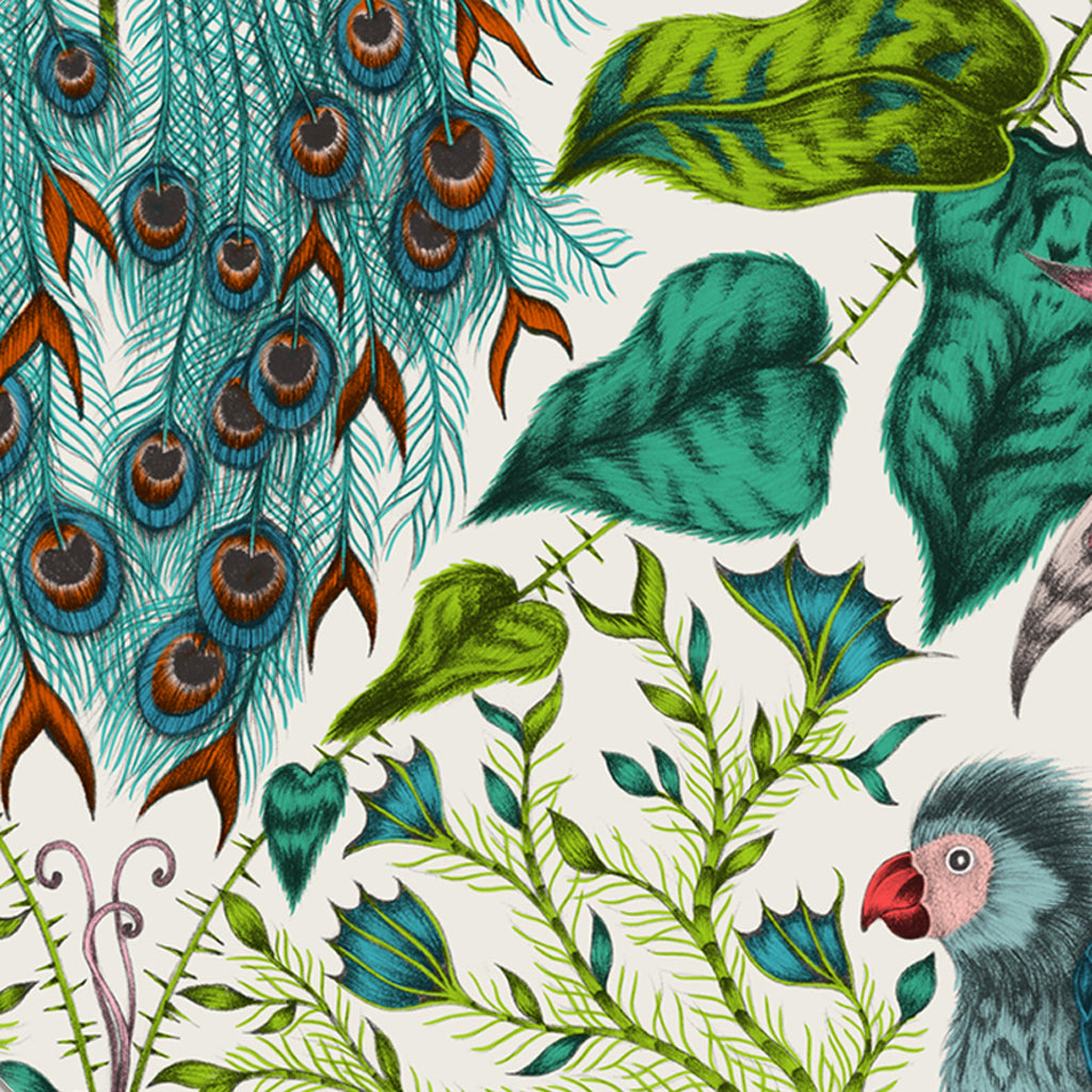 The tropical beauty of the lime Amazon Coaster up close, designed by Emma J Shipley in collaboration with Jamida