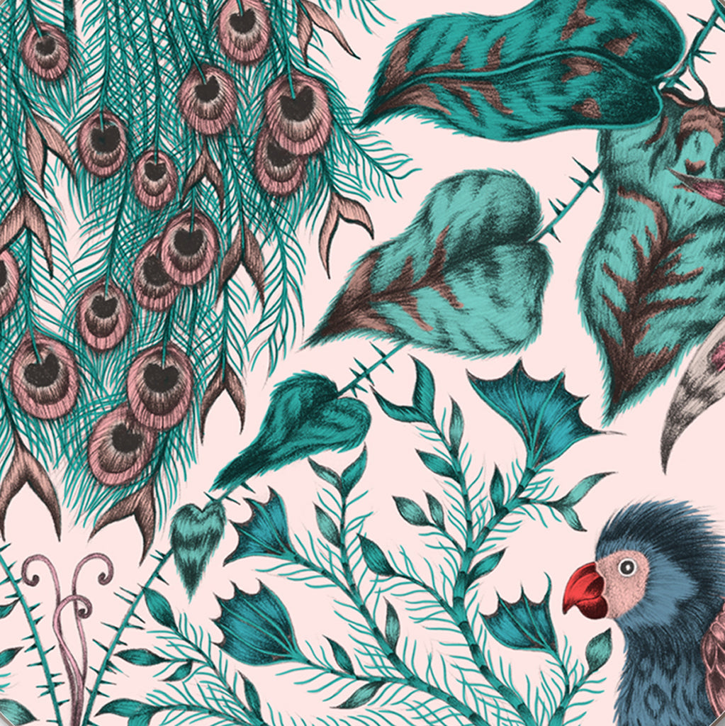 The stunning detail of the pink Amazon coaster designed by Emma J Shipley in collaboration with Jamida featured pink, teals, blues and a jungle scene on a beautiful dining room coaster