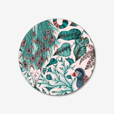 The beautiful pink Amazon coaster featuring a sweet peacock within a rainforest scene, hand drawn by Emma J Shipley and created in collaboration with Jamida