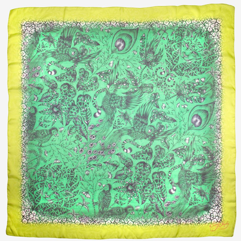An oversize silk chiffon scarf in Lime, inspired by the Amazon Jungle by Emma J Shipley.