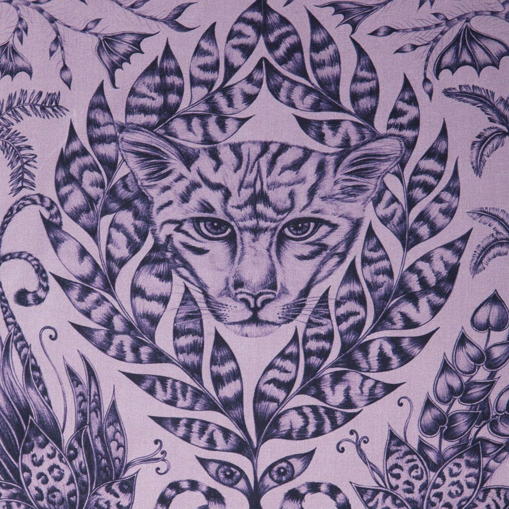 A detailed close-up of the hand-drawn Jaguar that features on the Violet Amazon Silk Chiffon Skinny Scarf by Emma J Shipley.