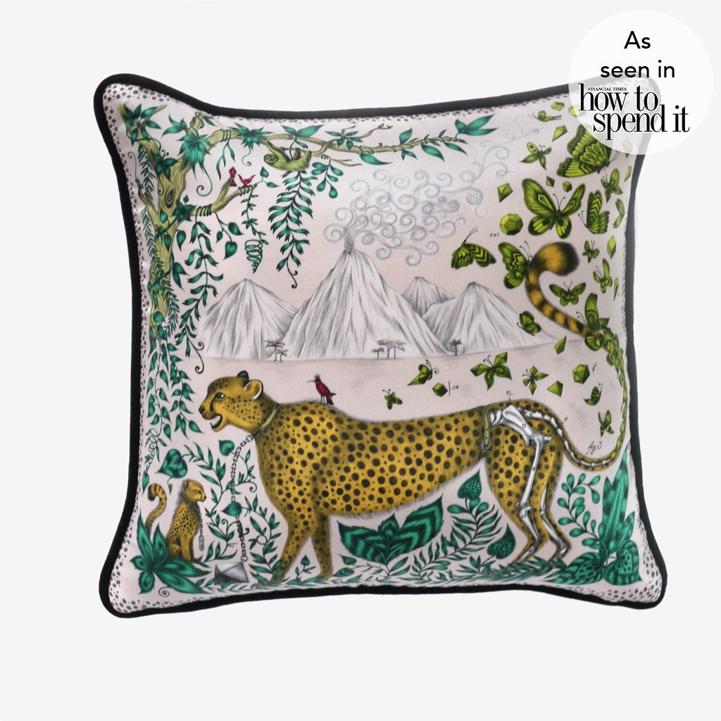 A photo of the cotton and silk blended Cheetah Cushion by designer and illustrator Emma J Shipley