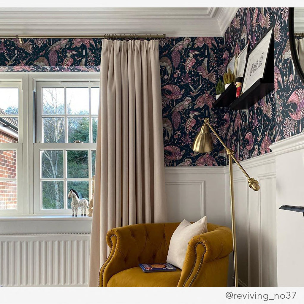 Pair the Emma J Shipley wallpaper with any drapery and even wall panelling to create a unique interior for your home