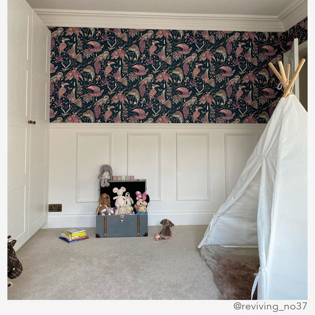 Emma J Shipley designs are perfect for any room from a kids playroom to a sophisticated hallway, the Audubon Pink Wallpaper is a great way to add touches of pink and animal magic