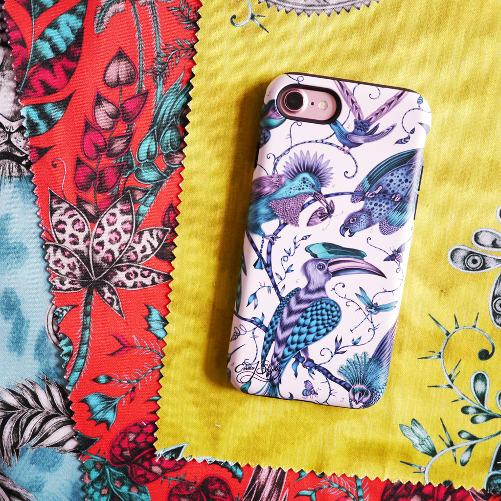 Teal birds cover the Audubon Phone Case created by illustrator Emma J Shipley