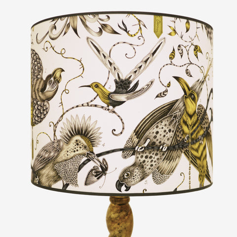 Magical birds soar across this 15.5 inch lampshade. Made in the UK, this large shade is perfect for floor standing lamp bases.