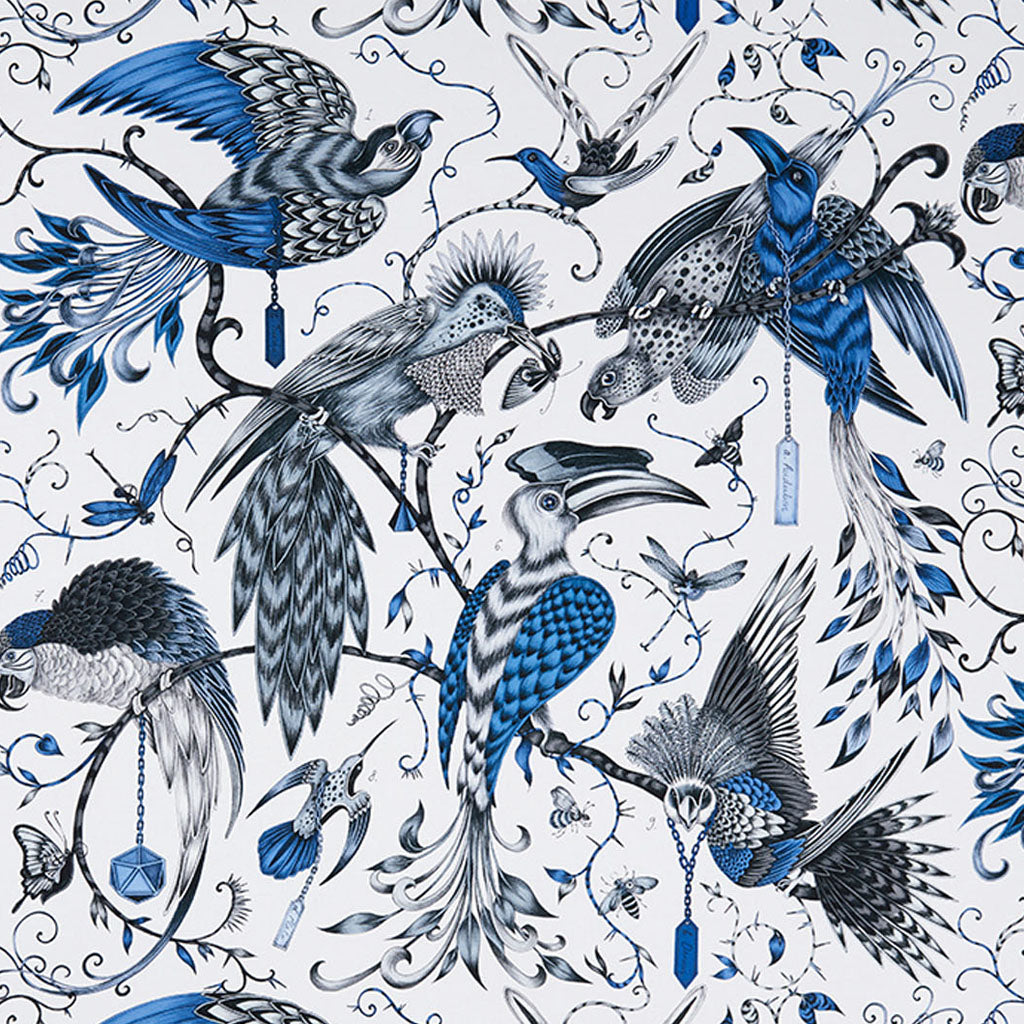 Maximalist and opulent - the Audubon cotton satin fabric designed by Emma J Shipley x Clarke & Clarke
