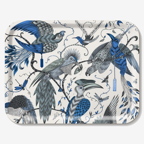 The Audubon Tray features an array of beautiful blue birds in flight, hand drawn and designed by Emma J Shipley