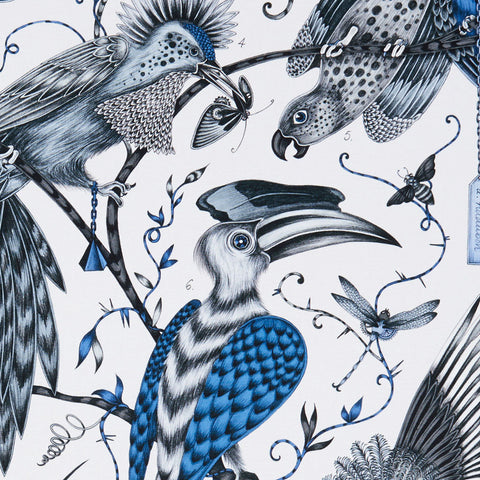 Brilliantly blue, the Audubon cotton satin fabric designed by Emma J Shipley x Clarke & Clarke