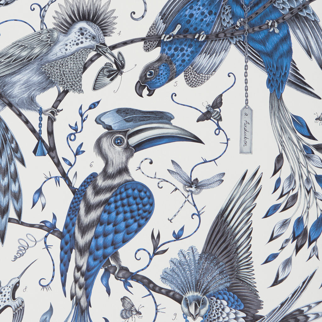 The magical Audubon wallpaper designed by Emma J Shipley in collaboration with Clarke & Clarke