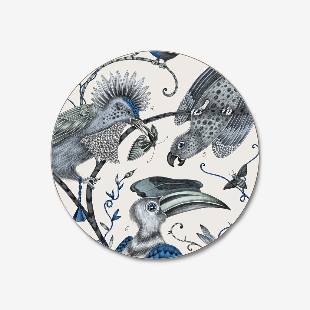 The beautiful Audubon coaster designed by Emma J Shipley with Jamida features a flock of fantastical birds upon a gloss-finish, cork-based coaster