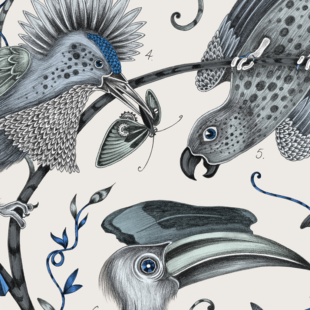 Details of the Audubon design, hand drawn by Emma J Shipley upon our coasters in collaboration with Jamida. Blues, greys and white adorn this gloss coaster