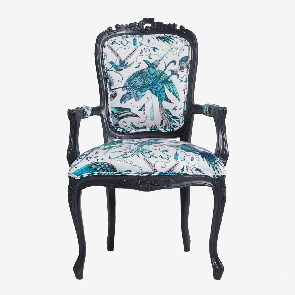 Audubon Antoinette Chair designed by Emma J Shipley for Clarke & Clarke features the Audubon cotton satin from the Animalia collection upon a decorative French dining chair - a beautiful exotic occasional chair