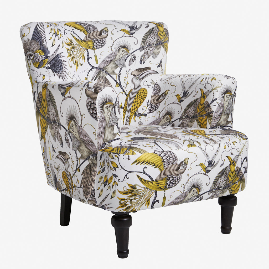 Bold interior statement furniture with the Audubon Gold Dalston Chair by Emma J Shipley for Clarke & Clarke is a stunning armchair which makes a bold statement in your interior