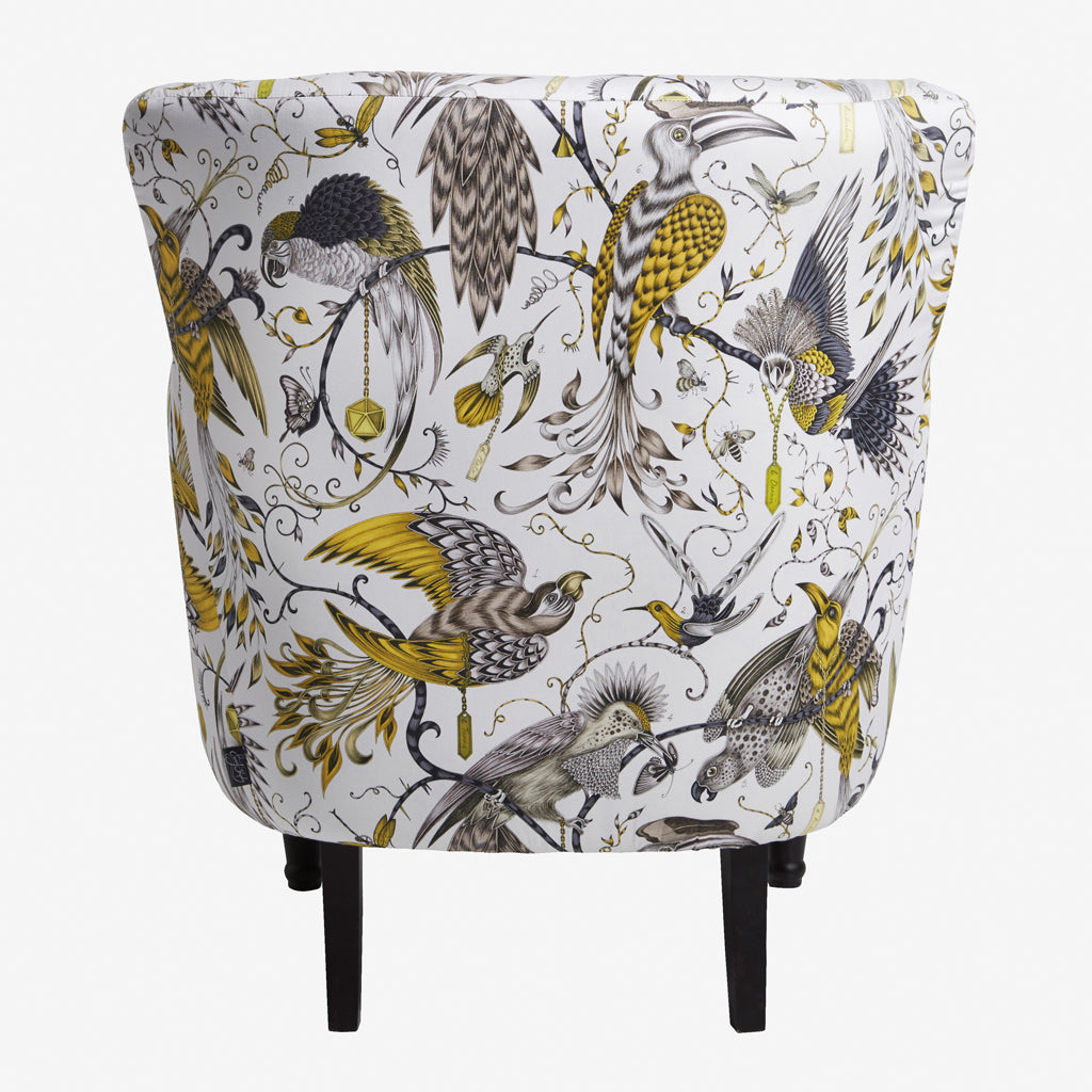 Animalistic beauty captured in the stunning Audubon design upon this Dalston Chair designed by Emma J Shipley for Clarke & Clarke