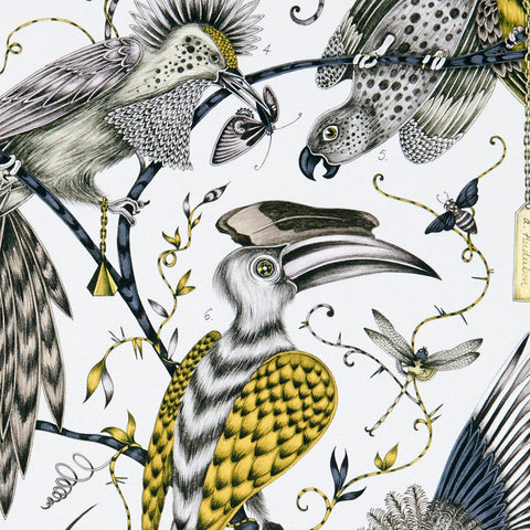 The Audubon cotton satin fabric designed by Emma J Shipley x Clarke and Clarke in the gold colour way