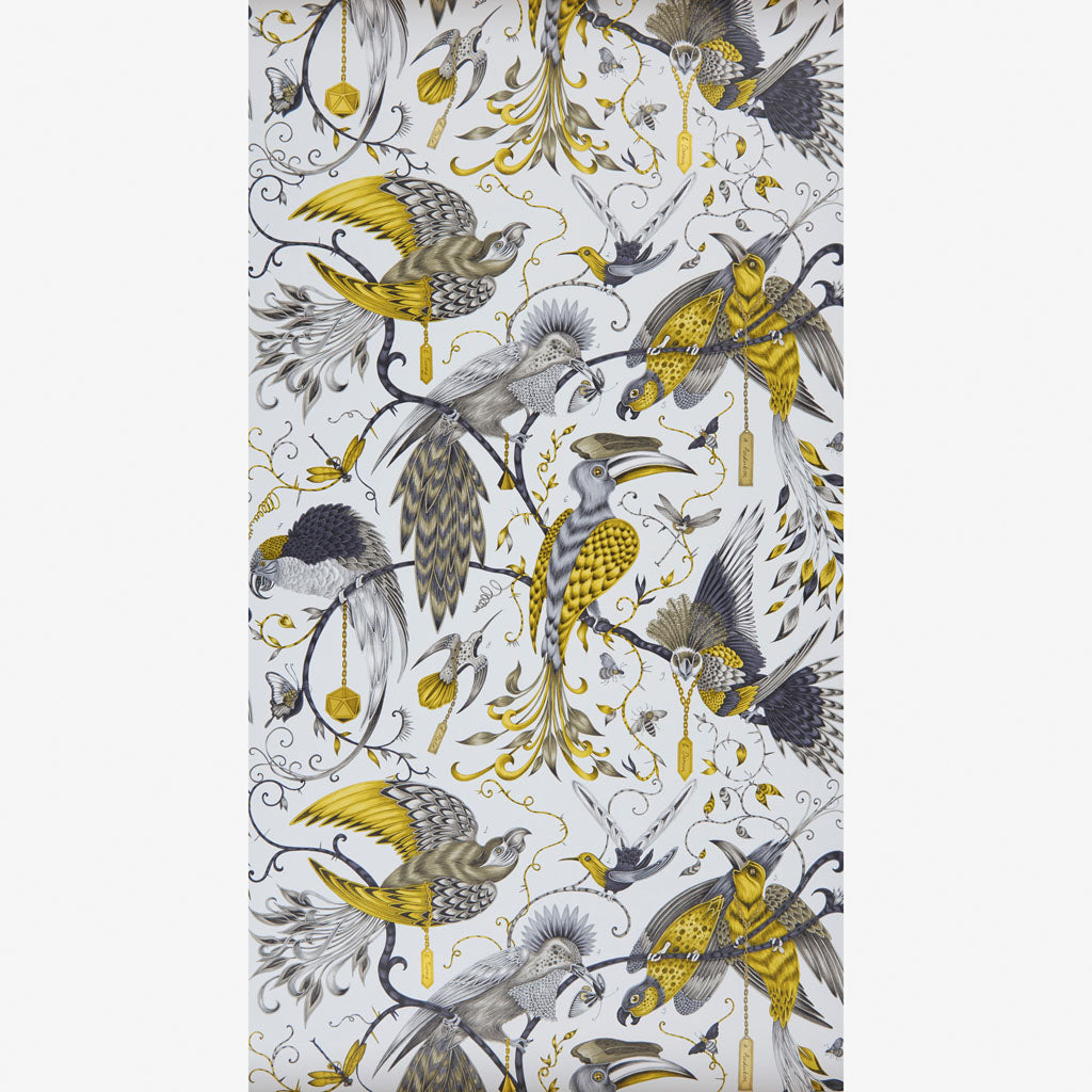 The beautiful gold Audubon wallpaper designed by Emma J Shipley in collaboration with Clarke & Clarke