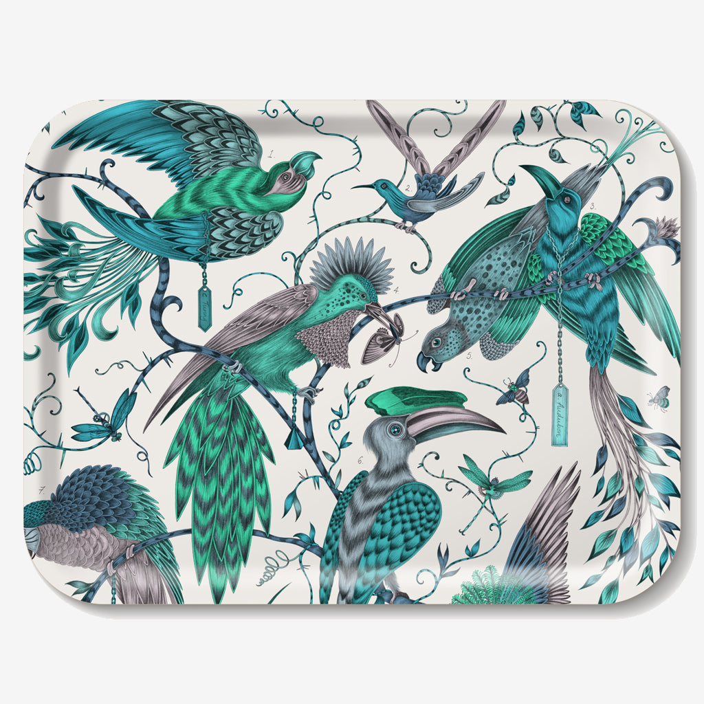 The Audubon Tray features a selection of majestic birds in flight, hand-drawn by designer Emma J Shipley
