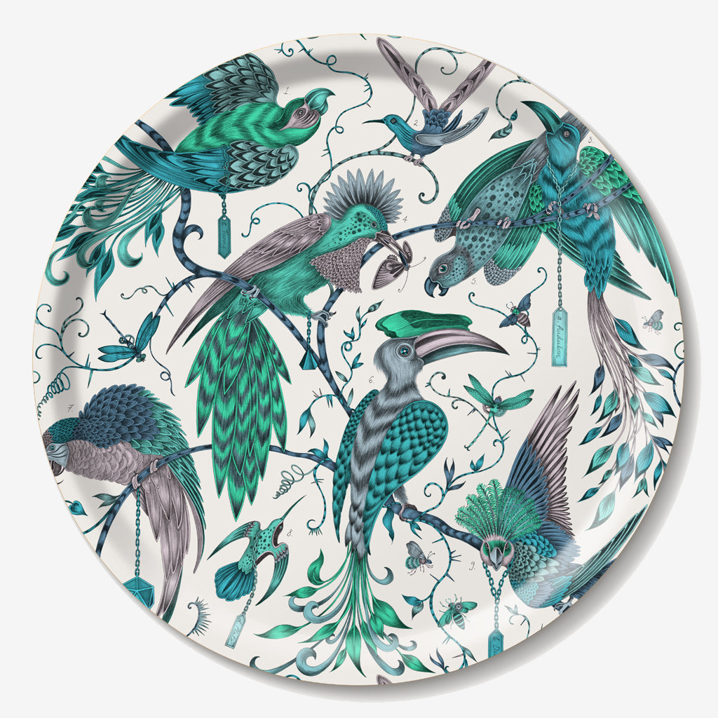 The Audubon Tray shows the magical, tropical birds designed by Emma J Shipley