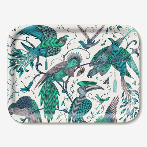 The Audubon tray is host to a selection of stunning tropical birds in flight, designed by Emma J Shipley
